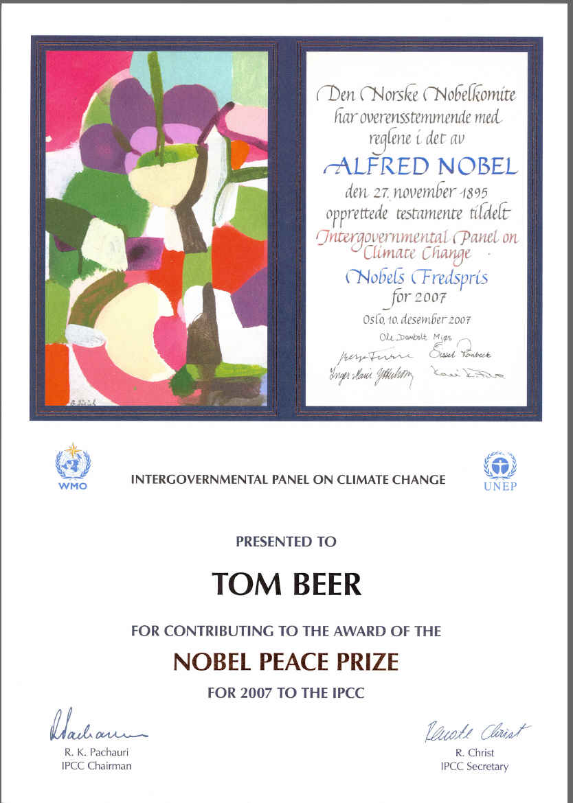 Certificate for Contribution to the award of the Nobel Peace Prize of 2007