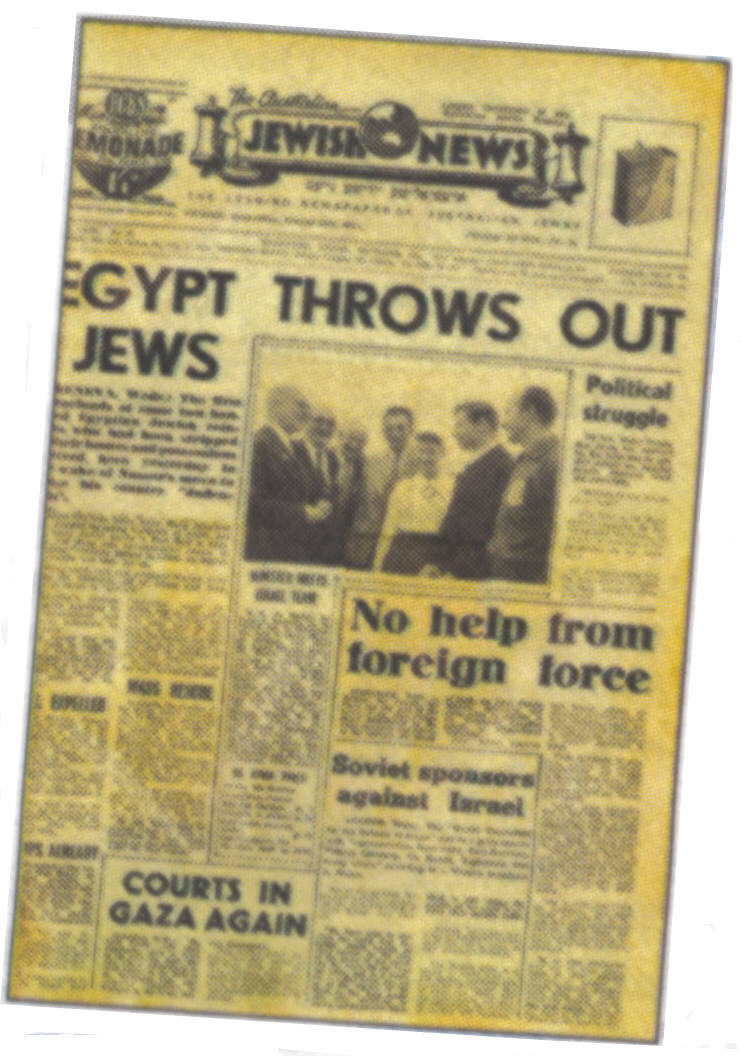 Front page of Australian Jewish News with headline EGYPT THROWS OUT JEWS