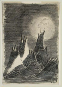 Other world landscape drawn by 14 year old Peter ginz at Terezin 1941