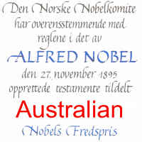Certificate awarded to Nobel Prize winners with Australian as awardee name